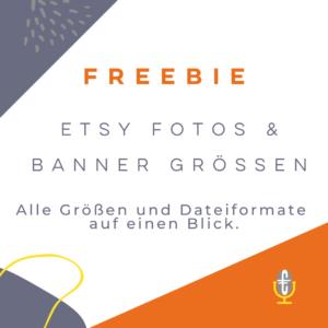 Kostenloses Freebie Etsy Banner und Produktfotos Größen