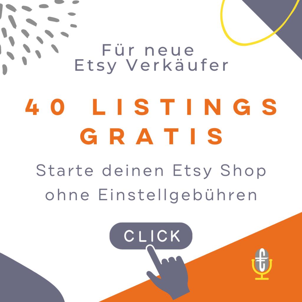 Etsy Shop anmelden - kostenlos 40 Einstellgebühren erhalten