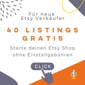 $0 Gratis Etsy Listings - Etsy Shop anmelden kostenlos